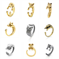 Wholesale Lovely Animal Adjustable Ring Pug Elephant Rabbit Giraffe Couple Lover Rings Women Men Family Mother Father Jewelry Ancient Gold Silver