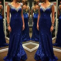 vestido de noite de lantejoulas de diamante venda por atacado-Sparkly Azul Vestidos de Noite Diamantes Beading Lantejoulas Bling Bling Bainha Longa Mulheres Vestido Formal Vestidos de Festa Tamanho Personalizado