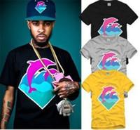 xp de golfinho-de-rosa venda por atacado-Casal Tee Pink Dolphin O Pescoço Golfinho Impressão T Shirt Hip Hop Roupas Big Bang 6 Cores 100% algodão