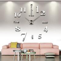 horloge acrylique d'expédition gratuite achat en gros de-Décoration de la maison DIY 3D Horloges Murales Miroir Acrylique Autocollants Horloges Art Nombre Décoration Murale Horloge Moderne Livraison Gratuite