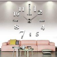 envío gratis reloj acrílico al por mayor-Decoración del hogar DIY Relojes de pared 3D Acrílico Espejo Pegatinas Relojes Número de arte Decoración de pared Reloj moderno Envío gratis