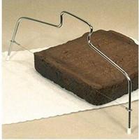 fırın teli toptan satış-Paslanmaz çelik ekmek dilimleyici İki satır kek dilimleri pişirme araçları boyutu 33 * 16 cm 2 tel kesme kalınlığı ayarlanabilir