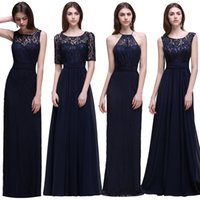 Wholesale Garden Bridesmaids Dresses - Cheap Navy Blue Long Chiffon Bridesmaid Dresses unbder 50 2018 Floor Length Beach Wedding Guest Country Maid of Honor Dress CPS539