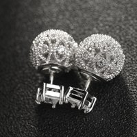 Brand New Europe Boucles d'oreilles à double face 10mm White Gold CZ Zircon Studs 16mm Boucles d'oreille en cristal Boucles d'oreille Ball de Hallow Ball