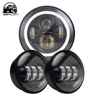 """Wholesale Universal Halo Kit - 2pcs 4.5"""" inch 30W led fog light + 1pcs 7"""" inch 45W led headlight kit with halo ring DRL for Harley Motorcycle car accessories"""