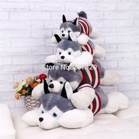 Wholesale Lying Dog Toys - Wholesale- 40CM HOT Siberian Husky Lies Prone Dog Soft Stuffed Plush Toy Creative Valentine's Day Gifts For Kids