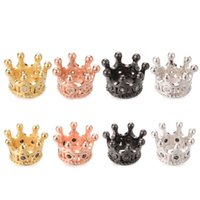 Wholesale Crowns Charms - Sparkly Crown Micro Pave Spacer Beads No Nickel And Lead 8 Color ICYS029 Size11.4*7.5mm