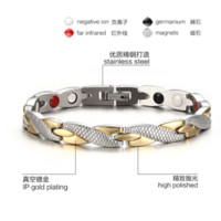 Wholesale Germanium Ion Bracelet - Bracelet Men Health Energy Magnetic Negative Ion Germanium Bracelet Men Jewelry Chain Link Stainless Steel Bracelets & Bangles