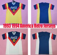 vintage spor giyim toptan satış-93 94 Amerika redtro forması Hatıra Baskı ev jersey erkek üst tay kaliteli klasik uzakta beyaz futbol gömlek vintage spor