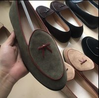 Wholesale Belgian Shoes - Mens Leather Loafers Black Suede Slippers Belgian Dress Shoes Casual Men Loafers With Bowtie Men's Flats