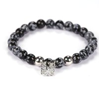 Wholesale Round Natural Gemstone Bead Stretch - Hot Selling 8mm Round Beads Men's Bracelet Snowflake Natural Gemstone Stone Beads Stretch Bracelets For Women and Men