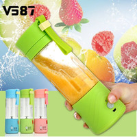 Wholesale Electric Blenders - Electric Fruit Juicer Machine Mini Portable USB Rechargeable Smoothie Maker Blender Shake And Take Juice Slow Juicer 3 Colors