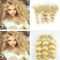 Wholesale Loose Wavy Russian Hair - 13*4 Ear to Ear Full Lace Frontal Closure With #613 Blonde Russian Loose Wave Wavy Virgin Human Hair Weave 3 Bundles 4Pcs Lot