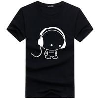 Wholesale Army Dog Shirt - Men Tee Shirts Funny Dog Listen Music Print T Shirts Men's Summer Short Sleeve t-shirt 2017 O Neck Streetwear Hip Hop Tops
