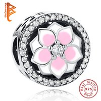 Wholesale Round Peach - BELAWANG Fit Original Pandora Charms Bracelet 925 Sterling Silver Flat Beads Pink Enamel Peach Blossom With Cubic Zircon DIY Jewelry Gift