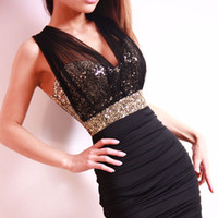Wholesale See Through Tights For Women - Sexy Black Dress Package Hip Skirt Tight Skirts With Paillette Mesh See-through Dresses Lower-cut Top For Party Nightclub Bar Free Shipping