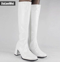 Wholesale Heels Retro White - Free shipping Halloween costumes White 1960s Go Go Ladies Retro Boots For Women Knee High Boots 60s 70s Fancy Dress Party shoes thick heel