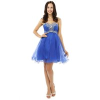 Foto reali Blue Short Tulle Paillettes Beaded Abiti da cocktail Una linea Sexy Girls Sweet Homecoming Dresses