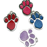 Большой размер 1''Dog Paw Shape Pet Safety Tag ID с Cute Paw Drip Design Hotsale Fit Pet CollarNecklace Cheap Wholesale 4 Color 100PCS / LOT