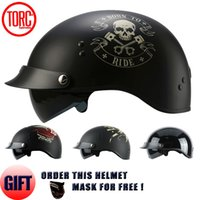 Wholesale Casque Moto Retro - Wholesale- TORC BRAND 2017 Harley helmet With Inner Sun Visor Vintage Half Face Motorcycle Helmet Casco Casque Moto Retro Helmets DOT T55