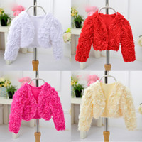 Wholesale wedding dresses small sleeves - Wedding Flower Girls Small Coat Party Cardigan Short Shawl Red Pink Match Princess Dress Sleeve Tops Kids Outerwear