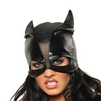 Wholesale High Quality Batman Mask - High Quality Faux Leather Hat Cosplay Outfit Black Mesh Patchwork Mask Half Face Open Eyes Halloween Headwear Batman Cosplay