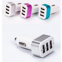 Wholesale Fast Car Styling - Universal Triple USB Car Charger 3 Ports In Vehicle Car-charger Adapter Socket 2A Car Styling Quick Fast Charging USB Charger Cigar Lighter