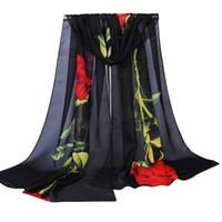 Wholesale Wholesale Neck Silk Scarves - Wholesale- 2017 Stylish Fashion Women Rose Floral Printed Long Soft Wrap Scarf Ladies Shawl Chiffon Hijab Neck Warmer Silk Scarf No2831
