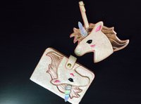Wholesale Ladies Luggage Bags - New Super Shinning Unicorn Passport Protective Case Luggage Tag SETS beautiful passport case for girls Ladies
