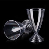 Wholesale Disposable Champagne Cup ML Plastic Red Wine Glass Hard Clear Transparent Goblet Juice Cups wn105