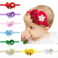 Wholesale Wholesale Pearl Weave Fabric - 10 colors hair jewelry headbands flower for baby girls newborns woven ribbon headwear handmade childrens hair accessories sale price bands
