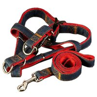 120cm Red Denim Jean Dog Leads Set 4 taille ajustable Accessoires pour animaux de compagnie Puppy Cat Training Walking Harness Leash For Dogs