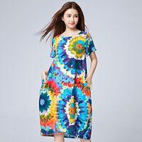 Wholesale flax linen dress l - Wholesale- 2017 Chinese Dress Big Flower Printing Loose Cotton Linen Long Beach Dress Flax Max Dress for Women Summer