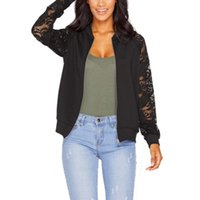 Wholesale women plus size baseball jacket - Wholesale- Brand Tops 2017 Girl Plus Size Casual Lace Baseball Jacket Women Sweatshirts Zipper Thin Bomber Jacket Long Sleeves Coat