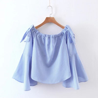 Wholesale Sleeve Lapel Lotus - Fashion boat neck Cotton Lapel Temperament of lotus leaf sleeve Fashion Striped shirt Apparel