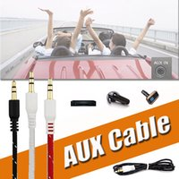 Wholesale Iphone Cord For Car - Braided AUX 3.5mm Stereo Auxiliary Car Audio Cable Cord Extension 3ft 1M Wired Male to Male For iPhone X 8 Samsung S8 MP3 Headphone Speaker