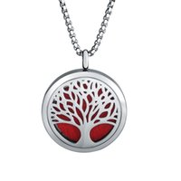 Wholesale Photo Frame Types - Mixed 18 types necklaces for women 30mm Titanium Steel life tree necklace Hollow Aroma Photo Frame Necklace