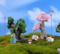 ingrosso alberi da giardino in miniatura-2 pz Resina Paesaggistica albero bonsai figurine fairy garden miniature per terrari ornamento casa delle bambole decorazioni Home craft
