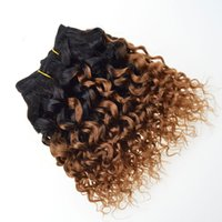 Wholesale Dye Colors For Hair - 7a Brazilian Hair Weave Kinky Curly Bob Wave 6 bundles T1B 30 Blond Ombre Human Hair Curly Weave Sew In Hair Extensions For Black Women