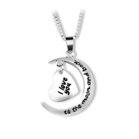 Wholesale silver necklaces online - father s day gift Statement Polish Shinny Silver Necklace I love you to the moon and back Pendent Necklace mothers day gift