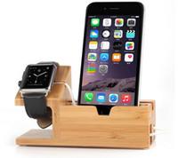 entrada usb para iphone venda por atacado-Estação de carregamento de madeira de bambu usb, suporte de mesa carregador, 3 portas USB de entrada, para iphone 7 / 6s / 6 / 5s 38mm / 42mm relógio de maçã