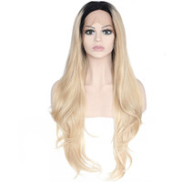 Wholesale Blond Wavy Wigs - Wavy Ombre Dark Blond Synthetic Lace Front Wig Glueless Two Tone Natural Black Dark Blond Heat Resistant Fibr Front Lace Wigs For Women