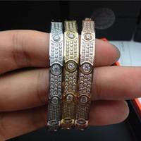 Wholesale Stainless Steel Jewelry Cz Bracelets - 316L Titanium steel love Bracelets Bangles for women Luxury full with cz stone bracelet puleiras love bangle men fashion jewelry