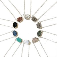 Wholesale green stone necklaces - Luxury brand Druzy necklaces Jewelry For women 10 colors Gold&Silver Plated Geometry Stone Pendant Necklace For Girls Fashion Accessories
