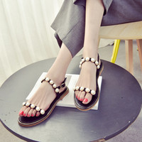 Wholesale Flat Backed Pearls - 2017 New Summer Flat Bottom Casual Sandals with Female Pearl Comfortable Soft Bottom Shoes Scuffs Buckle Sandals for Women