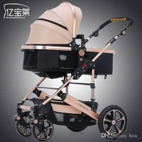 Wholesale Baby Carriage Wheels - 2017 new protable baby stroller 0--36 months pram high landscape carriage inflatable natural rubber wheels gray khaki red pink free shipping