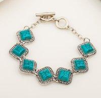 Wholesale Rhombus Beads Free Shipping - charms jewelry bracelets Turquoise bracelet retro rhombus dark green bracelet Alloy bracelet Christmas gift free ship by DHL #9436