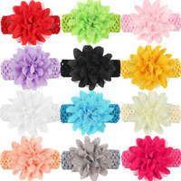 Wholesale Hand Crochet Baby Flower - 12 Colors Newborn Baby Headband Big Flower Lace Headbands Girls Hand made 4.5cm Wide Crochet hairbands children hair accessories KHA131