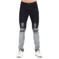 Wholesale Gradient Jeans Men - Wholesale-2017 Spring Black Gradient New Skinny Men Biker Jeans Fashion Casual Slim Ripped Hip Hop Urban Jeans eT0278
