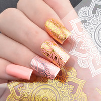 Wholesale Image Stickers - New Nail Art Stickers 3d Metal Hollow Lace Flower Stickers Goose Totem Creative Image Manicure Decorations Diy Nails Beauty 2017